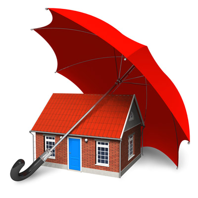 This is a picture of a cartoon looking house with a red roof.  Above the house is a large red umbrella protecting the house from rain and other weather.